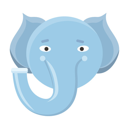 guise: Elephant mask isolated on white. Boar or mammouth. Cartoon character face to celebrate happy events at kindergarten, birthday, holiday festival. Sticker for toddler. Vector in flat style