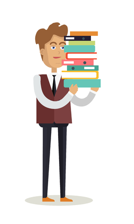 paper work: Office worker character vector. Cartoon in flat style design. Young man in suite standing and holding stuck of documents. Paper work, data analyzing Illustration for business concepts, infographics. Illustration