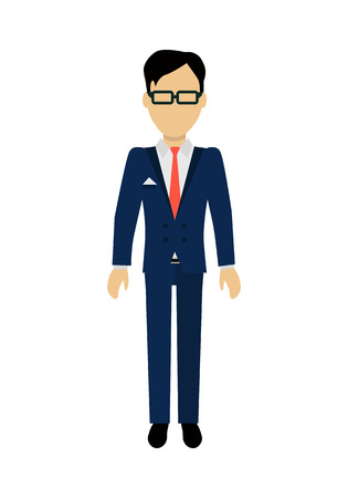 face off: Male character without face in blue suit vector. Flat design. Man template personage illustration for concepts with humans, mobile app pictogram,   infographic. Isolated on white background.