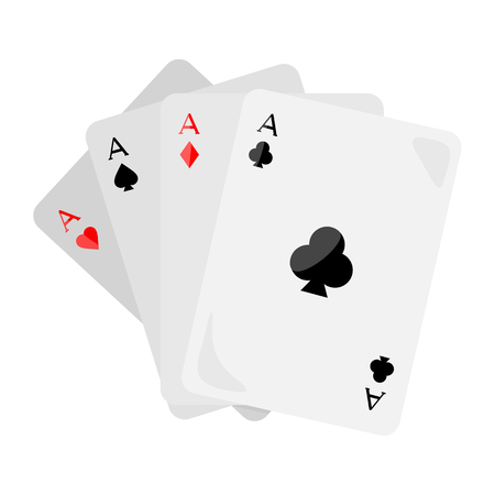 clubs diamonds: Set of vector ace playing cards isolated. Four aces of diamonds spades hearts and clubs. Poker playing cards. Gambling luck, fortune and bet, risk and leisure, jackpot chances. Flat style design