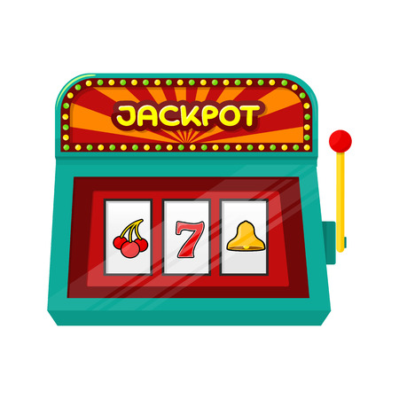 gamble: Slot machine web banner isolated on green. One arm gambling device. Casino jackpot, slot machine, fruit machine, luck game, chance and gamble, lucky fortune. Vector illustration in flat style Illustration
