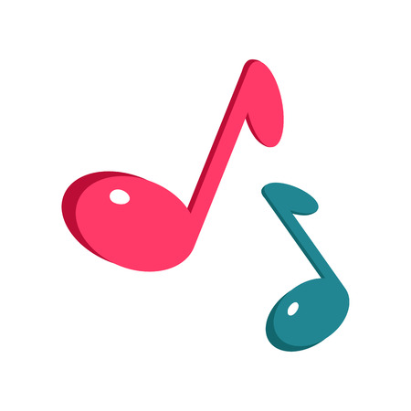 Music sign blue and pink notes isolated on white. Musical notes icon. Modern stereo system sign. Acoustics icon. Dynamics sign symbol. Amplifier accessories. Illustration