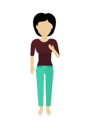 Female character without face in blouse and pants vector in flat design. Woman template personage illustration for feminist concepts, fashion app,  infographic. Isolated on white background.