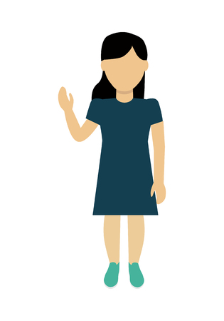 face off: Child character without face with hand raised in blue dress vector. Flat design. Girl template personage illustration for child concepts, fashion app,   infographic. Isolated on white.