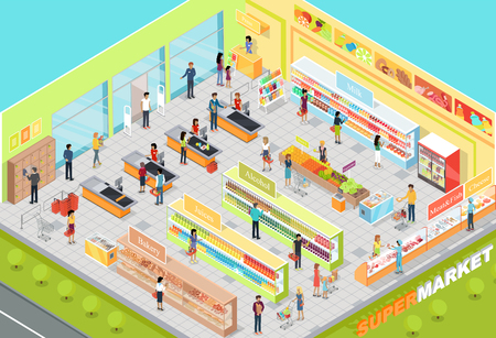 Supermarket interior vector. Isometric projection. 3D illustration of big trading room with product sections shelves, goods, customers, personnel, sellers, cashes. For store ad, app, game interface