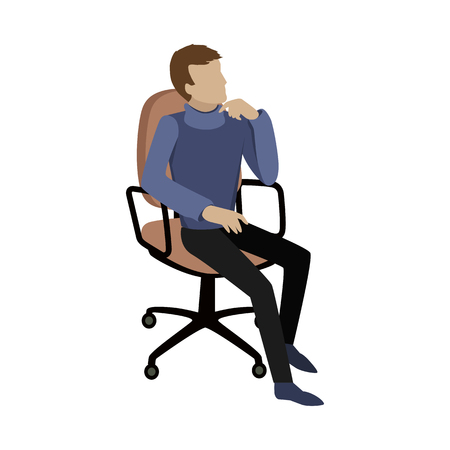isoated: Man sitting on chair and dreaming about something or thinking about the problem solution. Boy at work. Endless work seven days a week. Working moments. Part of series of work at the office. Vector