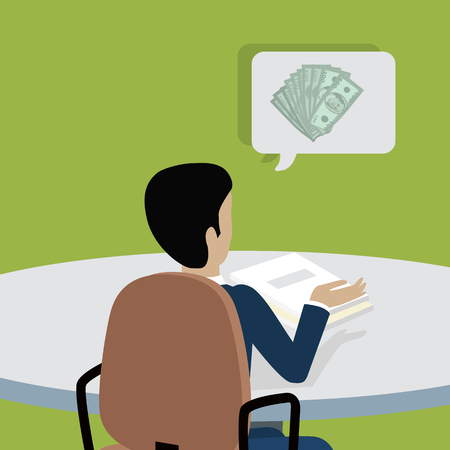 earn: Man sitting on chair and pointing on something by hand. Back view. Man at work thinks how to earn more money. Endless work seven days a week. Part of series of work at the office. Vector illustration