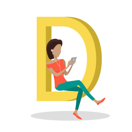 alphabetic character: D letter and girl sitting and watching movie on tablet. Social network. Alphabet with cartoon pictures of people using modern computer technologies for communication. Flat design. ABC vector