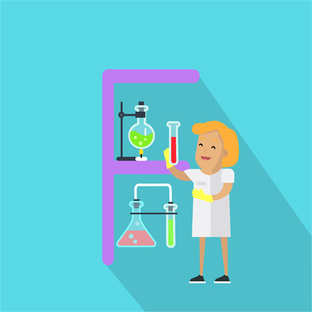 chemical equipment: F letter and scientist with chemical flasks. Human characters in white gowns with scientific equipment. Alphabet series with people. Chemistry and chemical equipment. Educational concept. ABC vector
