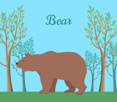 frisky: Funny brown bear on background of forest. Brown bear walking on grass in forest. Animal adorable brown bear vector character. Charming brown bear. Wildlife character