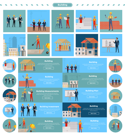 Set of building concepts and web banners vectors. Flat style design. Builders on a construction site with tools, investors with drawings, building measurements and plans, grand opening illustrations.