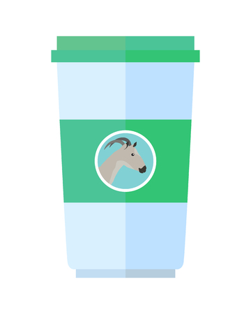 milk production: Goat dairy product vector. Flat design. Labeled plastic cup container with goat head. Illustration for farm husbandry, milk production, grocery store ad. Sour cream or yoghurt. Diet food. On white
