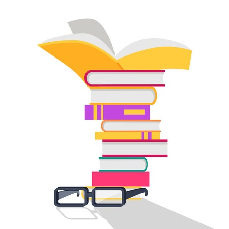 erudition: Reading books vector concept. Flat design. Stack of books with bright covers and glasses beside. Self-education and literature reading concept. Knowledge and erudition. Isolated on white background. Illustration