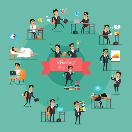 Businessman working day set. Young businessman in black business suit and tie in various work situations. Business people in office. Office life collection. Vector illustration in flat design.