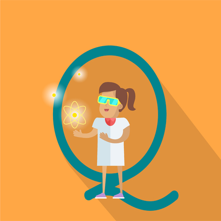 glossary: Science alphabet vector concept. Flat style. ABC element. Scientist woman in white gown standing with atom structure in hand, letter Q behind. Educational glossary. On orange background with shadow