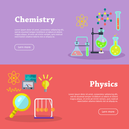 preparations: Chemistry and physics science banners. Chemical flasks and bottles, medicinal substance for experiments, molecular chains, preparations. Physical devices, equipment, elements. Vector in flat style Illustration