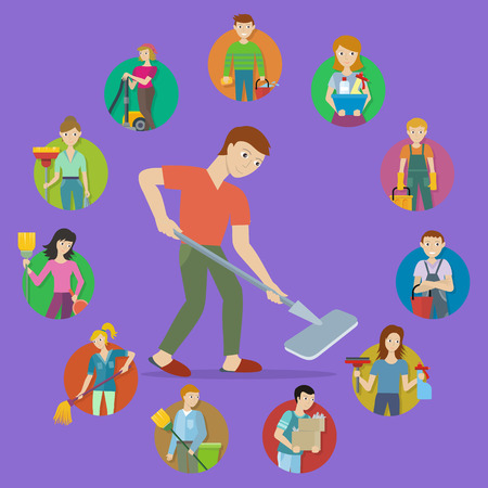home equipment: Cleaning service round icon set. Man and woman with cleaning equipment and detergent. Cleaning staff characters. House cleaning service, professional office cleaning, home cleaning illustration.
