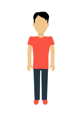 black pictogram: Male character without face in red t-shirt and black pants vector in flat design. Man template personage figure illustration, mobile app pictogram,  infographic. Isolated on white background. Illustration