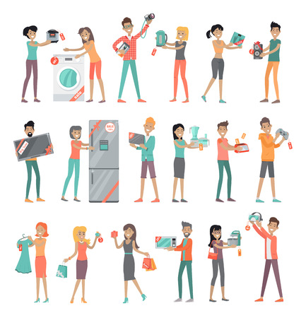 Set of peoples on store sale. Flat design vector. Man and woman happy characters holding different goods with sale stickers on it. Home technic, electronic devices, clothes, perfumes shopping