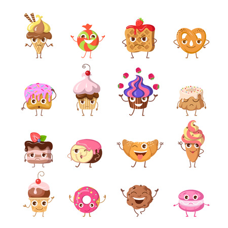 ready cooked: Set of funny dancing sweets. Flat design. Colorful confectionery bake cartoon in different mood smiling, laughing, lost, upset, drowsiness, happy, joyful, angry. For restaurant menu illustrating