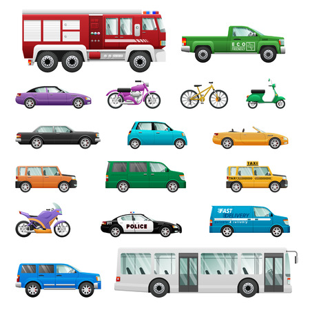 wheeled: Big set of wheeled transport vectors. Flat design. Collection of personal, public, special, office, cars, motorcycles, buses, bicycles. For transport concepts, infographic ad app icon games design
