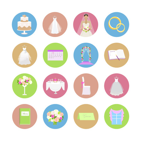table and chairs: Set of wedding icons. Flat design vector. Collection of color round icons with wedding ceremony attributes. Preparation for marriage. For wedding organizing company ad, app pictograms, web design Illustration