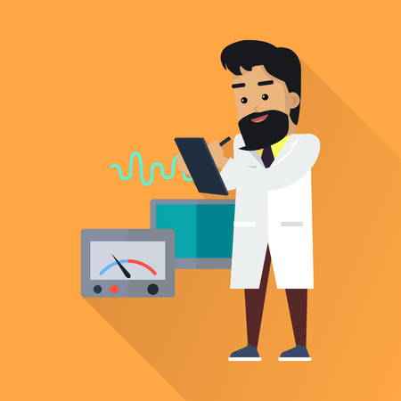 Scientist at work illustration. Vector in flat style. Scientific icon. Male in white gown takes the readings from laboratory instruments. Educational experiment. On orange background with shadow Illustration