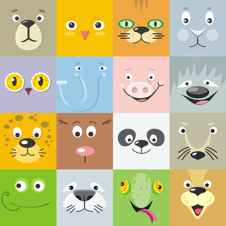 Set of color animal faces vector. Flat design. Mammals and birds heads cartoon icons. Illustrations for nature concepts, children s books illustrating, printing materials, web. Funny masks or avatars