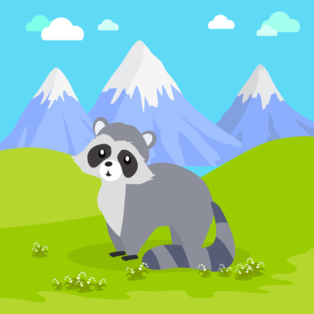 frisky: Funny raccoon sitting on green grass on background of mountain landscape. Gray raccoon with striped tail. Animal adorable mammal raccoon vector character. Natural background. Wildlife character