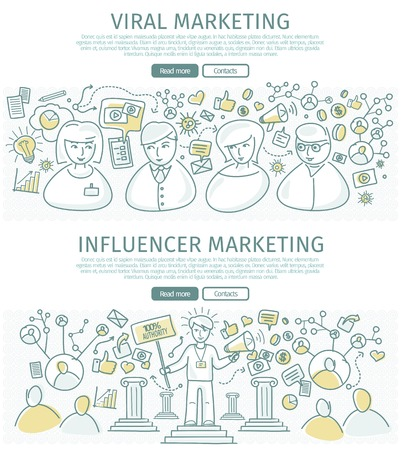 influencer: Set of marketing vector web banners. Flat design. Viral and influencer marketing concepts. People information connections. Two color line art vector. Authoritative expert. For marketing companies ad