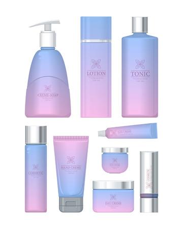 scrub: Professional series cosmetic set isolated. Hand cream, cream soap, eye cream, lotion, tonic, nail cream, day and night cream, shampoo, scrub. Part of series of decorative cosmetics items. Vector