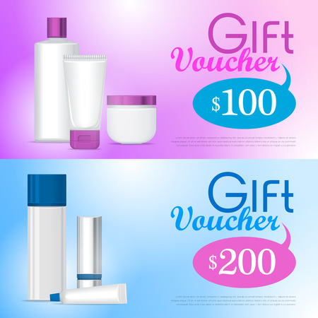 vouchers: Gift vouchers in cosmetics store design template. White clean tubes, sticks and bottles for lipstick, cream, shampoo, foam, lotion on pink on blue gradient background with text and prepayment sum