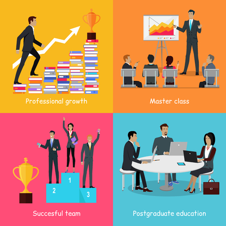 Professional growth successful team master class postgraduate education banner. Business education infographic. Presentation data and information, chart for study, winners podium. Vector illustration