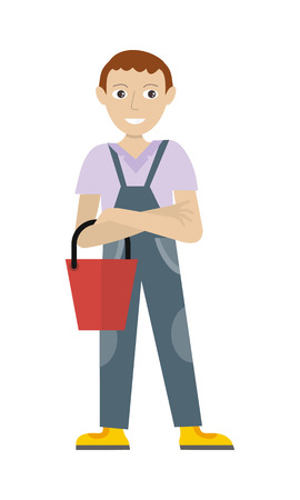 caretaker: Cleaning service. Male member of the cleaner service staff in uniform with bucket. Worker of cleaning company. Successful cleaning business company. Room caretaker character. Vector illustration