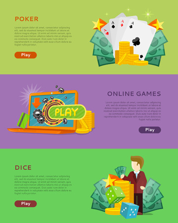 gamble: Set of gambling vector banners. Flat style. Poker, online games, dice horizontal conceptual illustrations with cards, roulette, money for virtual gamble and entertainments services web page design
