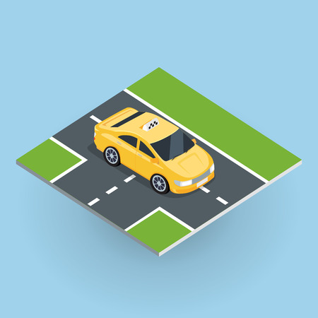 Flat 3d isometric car taxi on isometric part of road . City service transport icon. Car taxi icon. Isometric part of the city infrastructure. Isometric taxi cab. Isometric yellow taxi. Yellow taxi cab Illustration