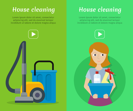 vacuum cleaning: Set of cleaning service web banners. Flat style. House cleaning vector concepts with woman, vacuum cleaner and household chemicals. Illustration with play button for housekeeping online services Illustration