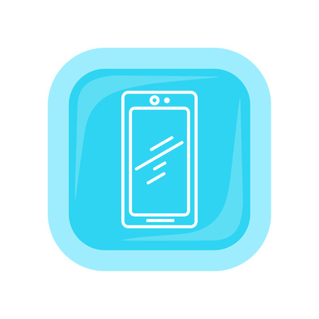 icon buttons: Mobile phone icon isolated on white. Cellphone communicator. Communication device. For mobile appliances, web design, buttons. Telephone or smartphone symbol. Flat style design. Vector illustration