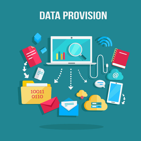 provision: Data provision banner. Networking communication and data icons around laptop on blue background. Data protection, global storage service and online cloud storage, security and privacy, safety, backup