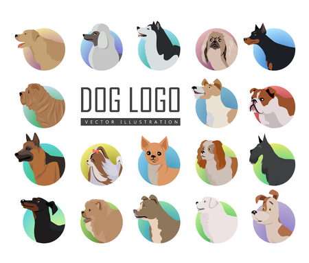 Set of dog vector logos in flat design. Pekingese, poodle, huskies, doberman, terrier, bulldog, shepherd, chihuahua, maltese, spaniel dachshund pit bull sharp chow-chow schnauzer illustrations Illustration