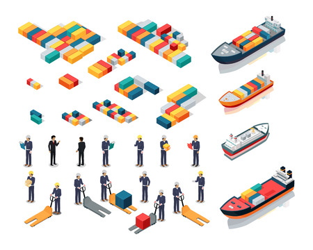 Set of sea port warehouse icons. Isometric projection. Cargo ships, color steel containers, workers in helmets with boxes and hidraulic loaders. For transport, delivery company ad,   app design