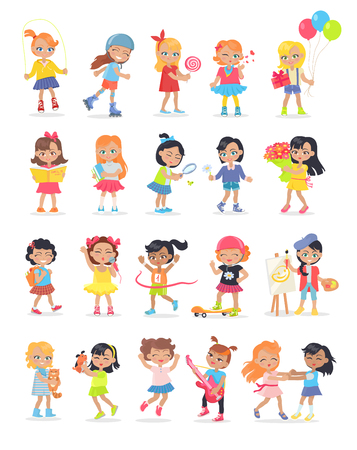 kids fun: Set of girls having leisure time. School girls during break. Group of kids having fun together. Young ladies at the playground, going in for sport, drawing, playing, walking. Daily activities. Vector