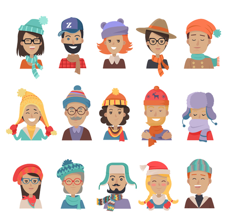 warm clothing: Set of boys and girls in hats. Collection of hats for all seasons. Man and woman in winter hat isolated. Fashion ladies hat accessory clothing wear. Elegant warm bonnets. Retro vintage hats. Vector