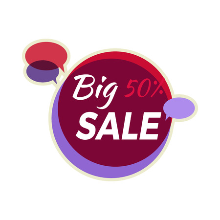 discount store: Sale sticker vector illustration. Flat style. Round bright sticker with big sale text and speak clouds. For store sale and discount advertising. Product label design. Black friday. On white background