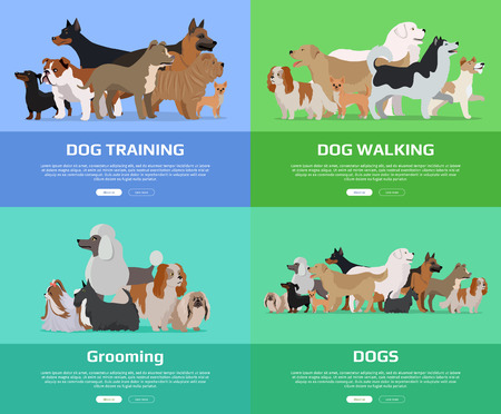 pet services: Dog walking, training, grooming banners set. Group of different breeds dogs stand on color background. Dogs banner with space for text. Dogs professional services. Cartoon dog character, pet animal.