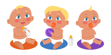 Set of babies playing in flat style. New born child. Education of a child during the first year. Parenthood concept. Nursery, education at home. Part of series of lifelong learning. Vector