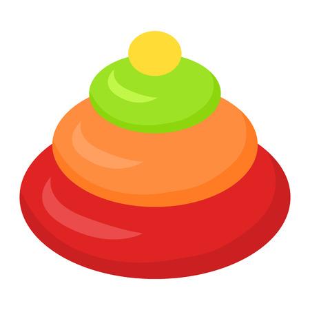 Empilement jouet pyramidion isolé sur blanc. jouet pour enfant. Empilage des anneaux dans un style design plat. Jouet préféré du petit enfant en bas âge. Jeu pour développer les compétences d'apprentissage de l'enfant. Vector illustration. Vecteurs