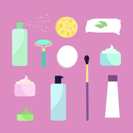 wet girl: Elements for girls face wash. Makeup tools. Face washing accessories. Decorative cosmetics. Instruments for girl to take care about her look. Part of series of face care. Vector illustration
