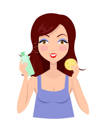 make up model: Cleansing. Girl clean her face with lotion. Cleaning with help of sponge. Woman instruction how to make up correctly. Girl cares about her look. Part of series of ladies face care. Vector illustration