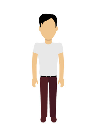 personage: Male character without face in white t-shirt vector in flat design. Man template personage figure illustration for concepts, mobile app pictogram, logos, infographic. Isolated on white background. Illustration